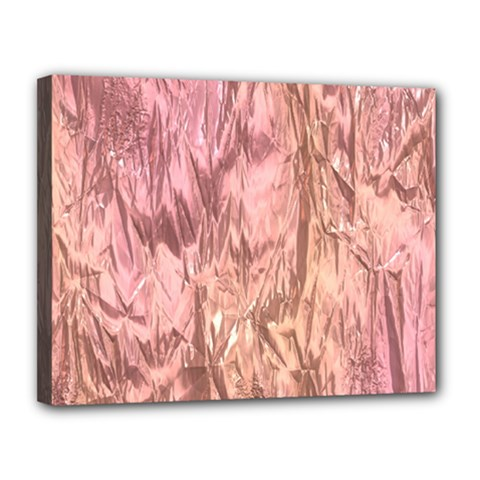 Crumpled Foil Pink Canvas 14  x 11