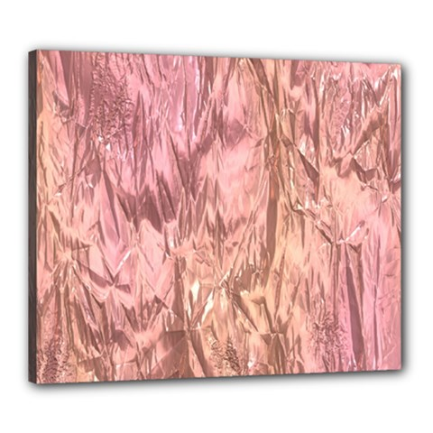 Crumpled Foil Pink Canvas 24  x 20
