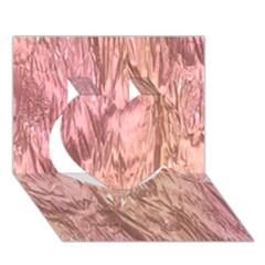 Crumpled Foil Pink Heart 3D Greeting Card (7x5)