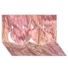 Crumpled Foil Pink Twin Hearts 3D Greeting Card (8x4)