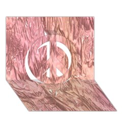 Crumpled Foil Pink Peace Sign 3D Greeting Card (7x5)