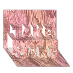Crumpled Foil Pink Take Care 3d Greeting Card (7x5)