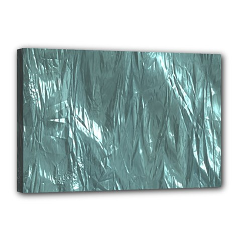 Crumpled Foil Teal Canvas 18  X 12