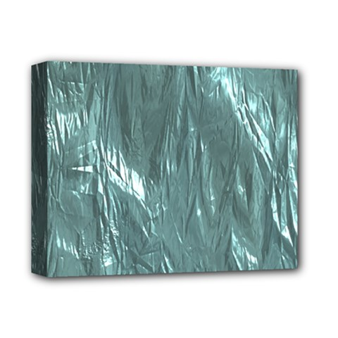 Crumpled Foil Teal Deluxe Canvas 14  x 11