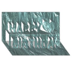 Crumpled Foil Teal Happy Birthday 3D Greeting Card (8x4)