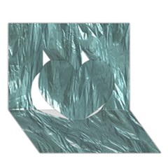 Crumpled Foil Teal Heart 3D Greeting Card (7x5)
