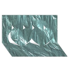 Crumpled Foil Teal Twin Hearts 3d Greeting Card (8x4)