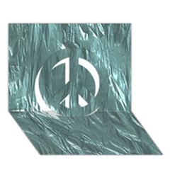 Crumpled Foil Teal Peace Sign 3d Greeting Card (7x5)
