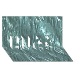 Crumpled Foil Teal HUGS 3D Greeting Card (8x4)