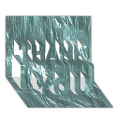 Crumpled Foil Teal Thank You 3d Greeting Card (7x5)