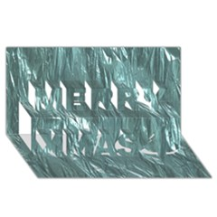 Crumpled Foil Teal Merry Xmas 3d Greeting Card (8x4)