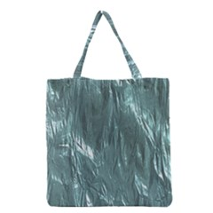 Crumpled Foil Teal Grocery Tote Bags