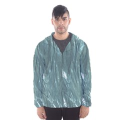 Crumpled Foil Teal Hooded Wind Breaker (Men)