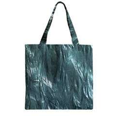 Crumpled Foil Teal Zipper Grocery Tote Bags