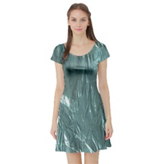 Crumpled Foil Teal Short Sleeve Skater Dresses
