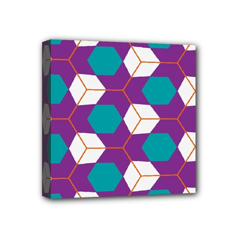Cubes in honeycomb pattern Mini Canvas 4  x 4  (Stretched)