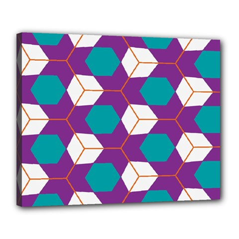 Cubes in honeycomb pattern Canvas 20  x 16  (Stretched)