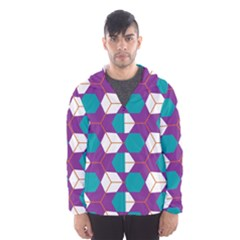 Cubes In Honeycomb Pattern Mesh Lined Wind Breaker (men)