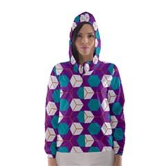 Cubes in honeycomb pattern Hooded Wind Breaker (Women)