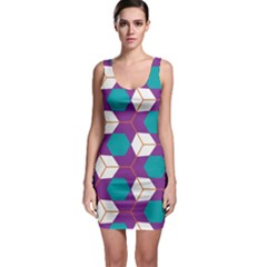 Cubes in honeycomb pattern Bodycon Dress