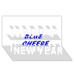 Blue Cheese Happy New Year 3D Greeting Card (8x4)