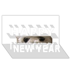 Bolognese Eyes Happy New Year 3D Greeting Card (8x4)