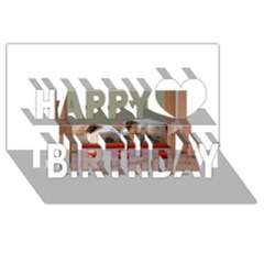 2 Sleeping Bulldogs Happy Birthday 3D Greeting Card (8x4)