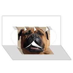 Bullmastiff Twin Hearts 3D Greeting Card (8x4)