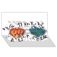 Little Fear Merry Xmas 3d Greeting Card (8x4)