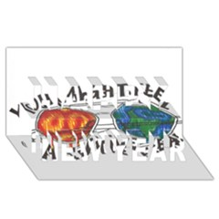 Little fear Happy New Year 3D Greeting Card (8x4)