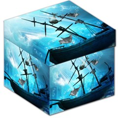 Awesome Ship Wreck With Dolphin And Light Effects Storage Stool 12