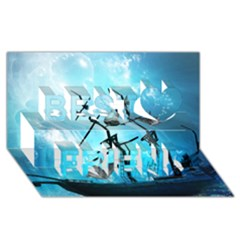 Awesome Ship Wreck With Dolphin And Light Effects Best Friends 3d Greeting Card (8x4)