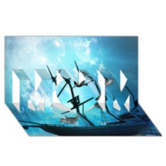 Awesome Ship Wreck With Dolphin And Light Effects Mom 3d Greeting Card (8x4)
