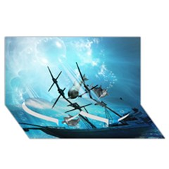 Awesome Ship Wreck With Dolphin And Light Effects Twin Heart Bottom 3D Greeting Card (8x4)