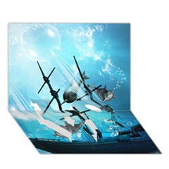Awesome Ship Wreck With Dolphin And Light Effects LOVE Bottom 3D Greeting Card (7x5)