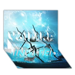 Awesome Ship Wreck With Dolphin And Light Effects YOU ARE INVITED 3D Greeting Card (7x5)