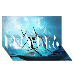 Awesome Ship Wreck With Dolphin And Light Effects BEST BRO 3D Greeting Card (8x4)