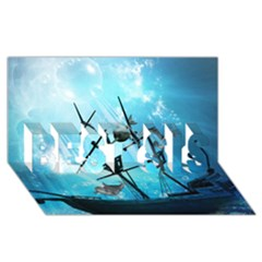 Awesome Ship Wreck With Dolphin And Light Effects Best Sis 3d Greeting Card (8x4)
