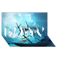 Awesome Ship Wreck With Dolphin And Light Effects PARTY 3D Greeting Card (8x4)
