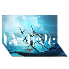 Awesome Ship Wreck With Dolphin And Light Effects BELIEVE 3D Greeting Card (8x4)