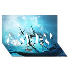 Awesome Ship Wreck With Dolphin And Light Effects Sorry 3d Greeting Card (8x4)