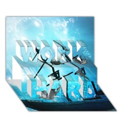 Awesome Ship Wreck With Dolphin And Light Effects WORK HARD 3D Greeting Card (7x5)