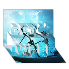 Awesome Ship Wreck With Dolphin And Light Effects Get Well 3D Greeting Card (7x5)
