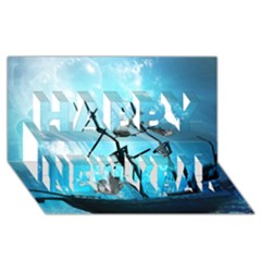 Awesome Ship Wreck With Dolphin And Light Effects Happy New Year 3D Greeting Card (8x4)