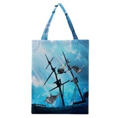 Awesome Ship Wreck With Dolphin And Light Effects Classic Tote Bags