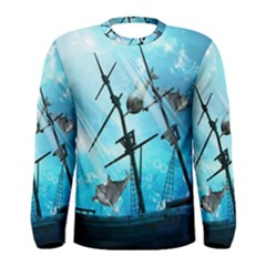 Awesome Ship Wreck With Dolphin And Light Effects Men s Long Sleeve T-shirts