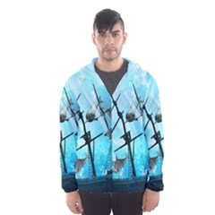 Awesome Ship Wreck With Dolphin And Light Effects Hooded Wind Breaker (Men)
