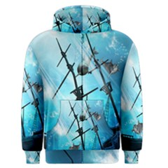 Awesome Ship Wreck With Dolphin And Light Effects Men s Zipper Hoodies