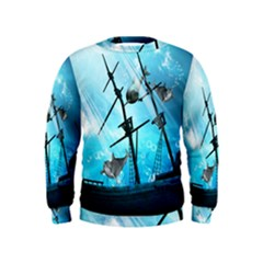 Awesome Ship Wreck With Dolphin And Light Effects Boys  Sweatshirts