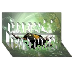 Wonderful Sea Turtle With Bubbles Happy Birthday 3d Greeting Card (8x4)
